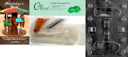 Cybrtrayd Skate Board Chocolate Mold with Chocolatier's Bundle, Includes 50 Cello Bags, 25 Gold and 25 Silver Twist Ties and...
