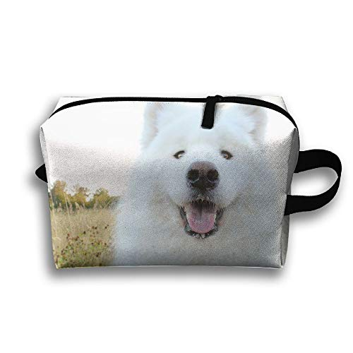 (Travelling Jewelry Pouch Samoyed And Grass Cosmetics Case Organizer Bag Zipper)