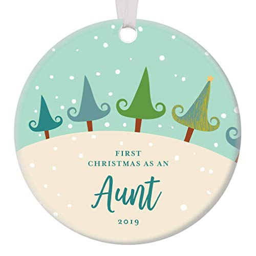 1st Year Aunt Christmas Anniversary Ornament 2019 Decorated Pine Tree Xmas Chic Presents Cute Winter Snow Home Decor Amazing Handcrafted Niece Nephew Gift Dated Happy Holiday Porcelain Round Circle 3