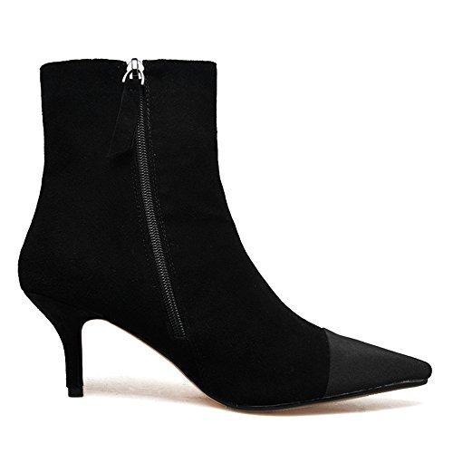 Nio Sju Mocka Läder Womens Pekade Cap Toe Stilett Häl Sexiga Handgjorda Fotled Tossor Svart