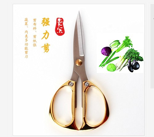 Xdorra - About 8 Inch Golden Stainless Steel Ribbon-cutting, Paper Cutter or Kitchen Scissors - Ideal Tool for Vegetables, Meat and Seafood (190g) (Ribbon Shears)