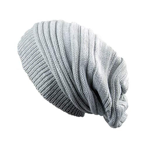 Bestjybt Women Men Knitting Beanie Wool Baggy Oversize Slouchy Hip-Hop Winter Warm Skull Caps Hats White -