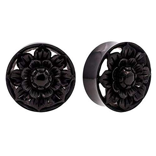 Pair | Organic Carved Horn Lotus Flower Double Flared Plugs | 1 1/4