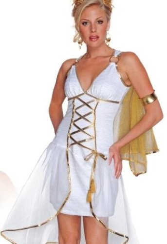[Secret Wishes Women's Grecian Goddess Adult Costume, White/Gold, X-Small] (God And Goddesses Costume Aphrodite)