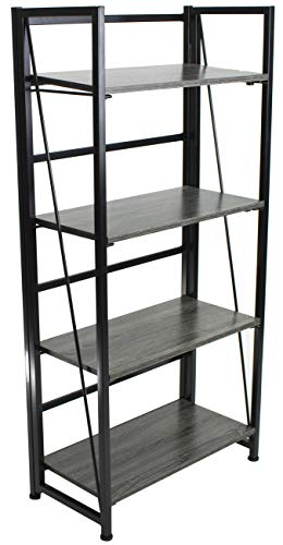 Sorbus Bookshelf Rack 4 Tiers Open Vintage Bookcase Storage Organizer, Modern Wood Look Accent Metal Frame, Shelf Rack Furniture Home Office, No Assembly Required by Sorbus (Image #6)