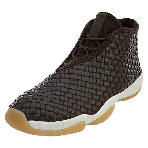(NIKE Mens Air Jordan Future Premium Dark Chocolate/Sail-Gum Yellow Leather Size 12)