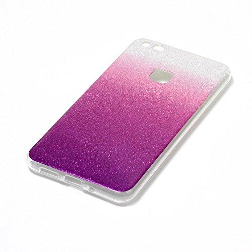 Hülle für Huawei P10 Lite ,TPU Silikon Backcover Case Handy Schutzhülle für Huawei P10 Lite, Cozy Hut® Huawei P10 Lite Hülle Handyhülle, Glitzer Slim Soft-Case Back-Cover Schutzhülle, Handy-Tasche im  Fuchsie