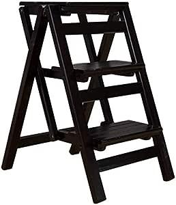 LHF Taburetes para el hogar, taburete plegable multifuncional Silla de escalera con 3 escalones para la escalera de madera para el hogar Carga máxima ensanchada 120 kg Trabajo pesado para el jardín