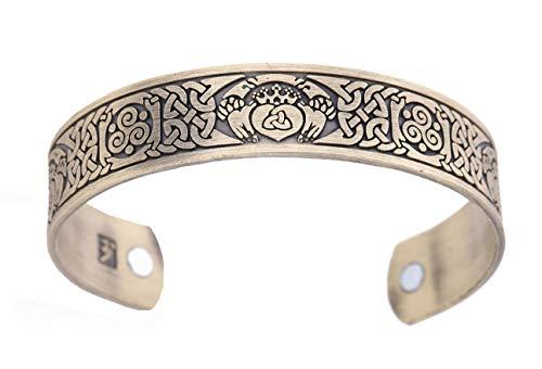 - fishhook Vintage Health Care Magnetic Claddagh Spiral Triskelion Celtic Knot Bangle Cuff Bracelet (Antique Bronze)