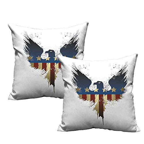 (Eagle Square Throw Pillow Covers The American Flag on Silhouette of National Bird of The Country Majestic Animal Resists Stains, Wrinkles 18