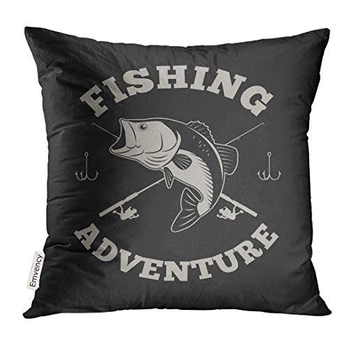 Emvency Throw Pillow Cover Badge Fishing Adventure with Bass Fish and Rod Bait Decorative Pillow Case Home Decor Square 18x18 Inches Pillowcase