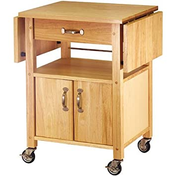 Small Natural Kitchen Cart Drop Leaf Mobile Serving Cutting Board Appliance  Cabinet Drawer Storage