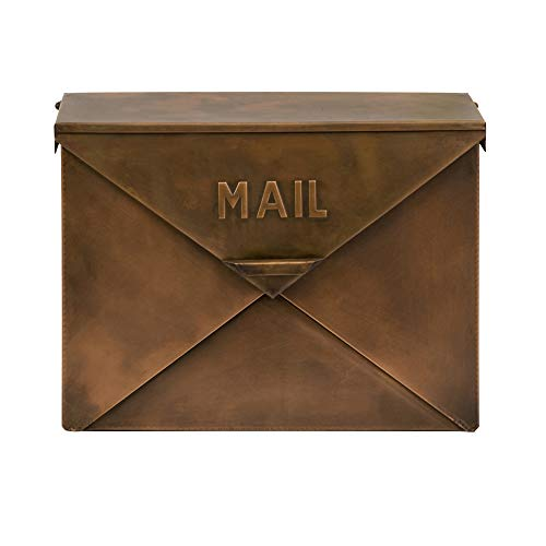 Benjara Spacious Envelope Shaped Wall Mount Iron Mail Box, Copper Finish (Mailbox Wall Mount Copper)