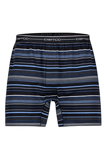 ExOfficio Men's Sol Cool Print Boxer Shorts, Black Multi Stripe, Large