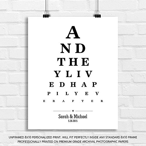 Personalized Gift for Couple and They Lived Happily Ever After Word Design Eye Chart on White Background Custom Metal Tin Wedding Art Print - 8x10 Unframed Paper Art Print