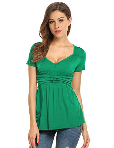 (Yesfashion Womens V Square Neck Ruched Tops Empire Waist Tunics Short Sleeve Green XL)