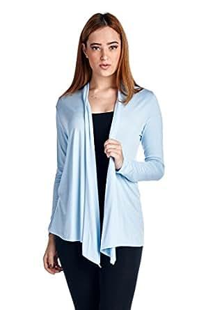 82 Days Women'S Rayon Span Super Comfortable Basic Cardigan - Baby Blue S