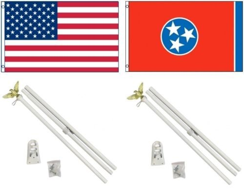 Moon 3x5 USA American & State of Tennessee Flag & 2 White Po