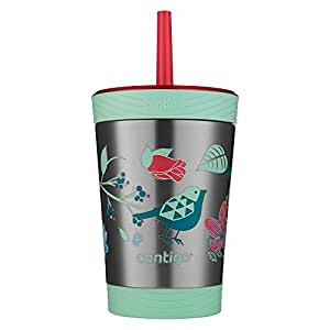 Contigo Stainless Steel Spill-Proof Kids Tumbler with Straw, 12 oz, Sprinkles with Birds & Flowers