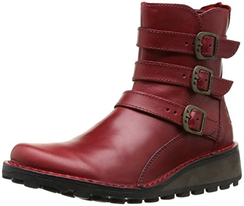 Fly London Women's Myso Rug Leather Zip Ankle Boot Camel Red
