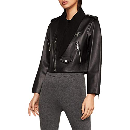 BCBG Max Azria Womens Aubree Tie Neck Cropped Leather Jacket Black L