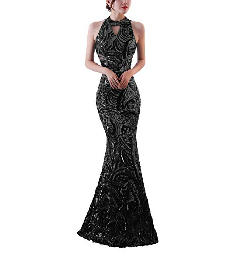 Chowsir Women Elegant Halter Fishtail Slim Cocktail Party Evening Bridesmaid Long Dress (X-Large, Black)