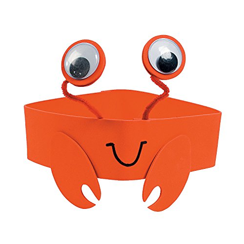 Fun Express - Crab Foam Headband ck - Craft Kits - Apparel Craft Kits - Hat & Mask - 12 Pieces ()