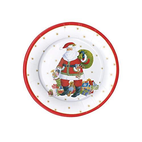 Christmas Paper Plates, Christmas Salad Plates, Christmas Party Plates, Holiday Party Decorations, Disposable Plates, Dessert Plates- Santa Clause Lane 8