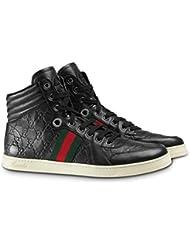 Gucci Mens GG Guccissima Leather High-top Sneaker, Nero (Black) 221825