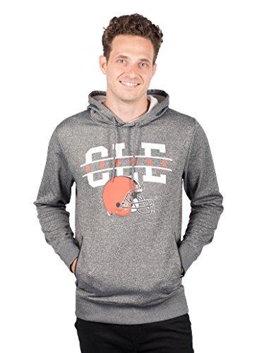 ICER Brands NFL Cleveland Browns Men's Fleece Hoodie Pullover Sweatshirt Zipper Pocket, X-Large, Gray