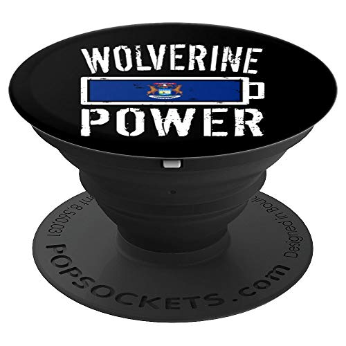 Michigan Flag Design | Wolverine Power Battery Proud Tee - PopSockets Grip and Stand for Phones and Tablets