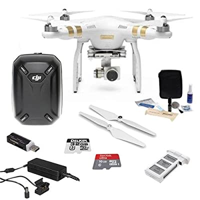DJI Phantom 3 Professional Quadcopter Drone - Bundle w/3-Axis Gimbal, Spare Battery + Self Tightening Propeller Set + Hardshell Backpack + 32GB MicroSDHC + Cleaning Kit + SD Card Reader