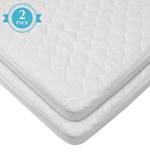 American-Baby-Company-Waterproof-fitted-Quilted-Bassinet-Mattress-Pad-Cover-2-Count-White