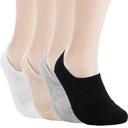(Pro Mountain Women's No Show Flat Cushion Cotton Footies Sneakers Sports Socks (S(US Women Shoes 5.5~7.5), 4color 1each total 4pairs Pack S-size))