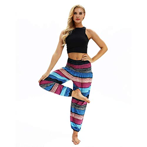 CICIYONER Hombres Mujeres Casual Loose Hippy Yoga Pantalones Baggy Aladdin Harem Pantalones Harem Púrpura