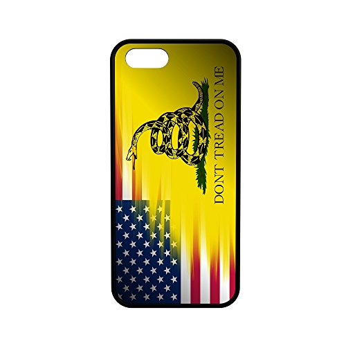 American Gadsden Flag iPhone 5/5s/SE Hybrid Rubber Protective Black Case USA Don't Tread on ()