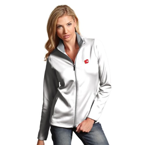 Antigua Calgary Flames Jacket (NHL Calgary Flames Women's Leader Jacket, White/Silver,)