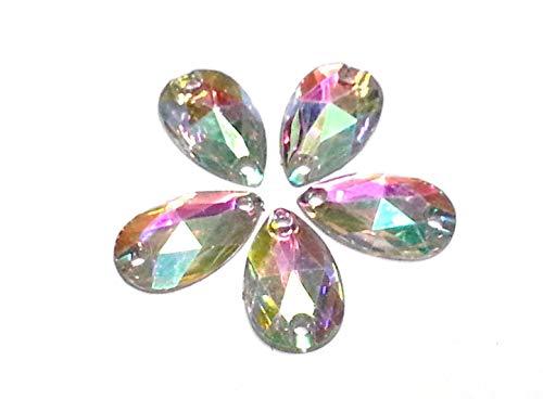 CraftbuddyUS 30 25x18mm SEW on Stick on AB Clear Teardrop Pear Acryl Diamante Rhinestone Gems