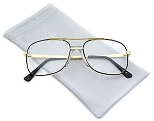 Retro Classic Square Translucent Clear Lens Aviator Glasses