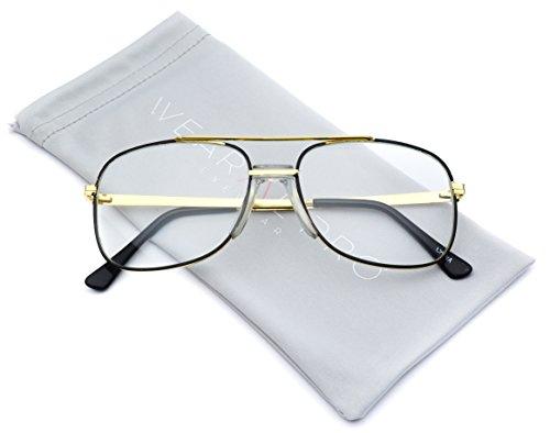 Retro Classic Square Translucent Clear Lens Aviator - Aviator Vintage Glasses Retro