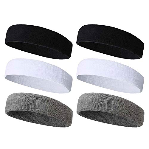 Beauty7 6 Pack Sports Terry Cloth Sweatbands Headbands Hair Wrap for Men Women Cotton Moisture Wicking Athletic Gym Working Out Running Yoga Crossfit Tennis Basketball Football 2 Black 2 White 2 Gray