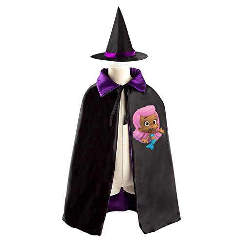 Bubble Guppies Molly Costumes - Bubble Guppies Molly Halloween Costumes Decoration Cosplay Witch Cloak with Hat (Black)