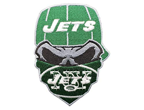 New York Jets Iron On Skull with Bandana Patch 3.55 x 2.5 inches - Jet Embroidered Sweatshirt