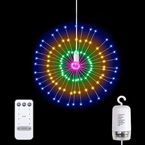 LED Firework Lights, 8 Modes & 150LEDs Dimmable Remote Control Hanging Starburst Fairy Twinkle Lights Battery Operated Waterproof Copper Wire Decorative Lights for Garden, Party - Multi-Color