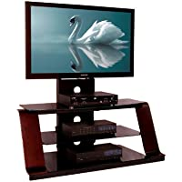 No Tools Required (95032) 55 3-in-1 TV Stand With Mounting System-dark Walnut Wood Grain Finish