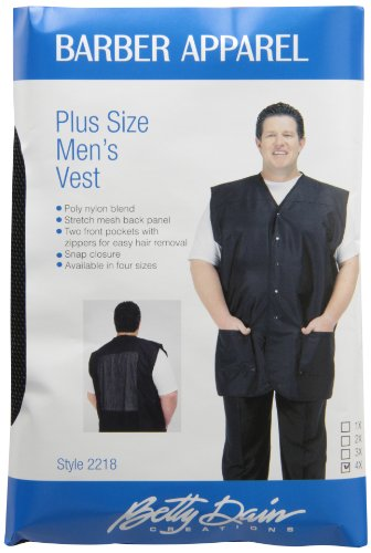 (A Size Above Big & Tall Vented Mesh Back Barber Vest, Black, 4X)