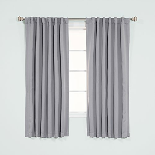 Best Home Fashion Thermal Insulated Blackout Curtains - Back Tab/ Rod Pocket - Grey - 52