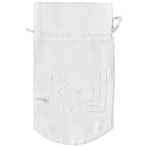 Chill Jacket Insulated Bottle (Wine Bottle Tote Holder Bag White Linen Cloth with Flower Pattern Cutwork with Drawstrings 7 X 13 Inch)