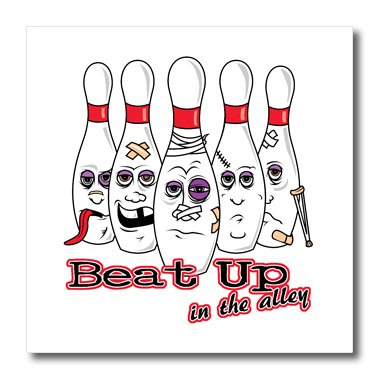 Photo Pin Bowling (3dRose ht_116289_3 Beat Up in The Alley Bowling Pins Sports Design Humor-Iron on Heat Transfer for Material, 10 by 10-Inch, White)