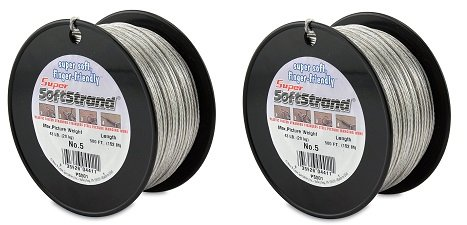 SuperSoftstrand 500-Feet Picture Wire Vinyl Coated Stranded Stainless Steel (2-Pack)